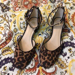 CAbi Kiki Leopard ankle strap kitten heel Size 8